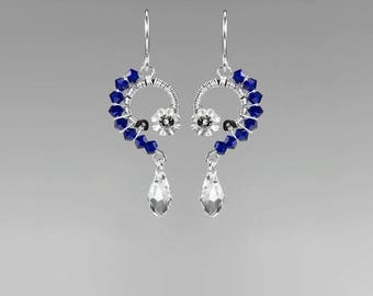 Dark Blue Swarovski Crystal Earrings, Rare Cobalt Swarovski Crystals, Industrial Jewelry, Space Jewelry, Wire Wrapped, Polaris II