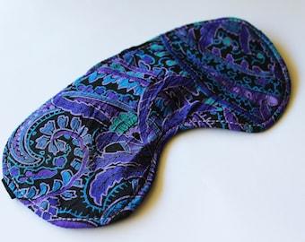 Paisley Blue and Purple lined Sleeping Eye Mask, blindfold, travel eye mask, sleep mask, travel mask, travel gift, yoga mask, purple mask