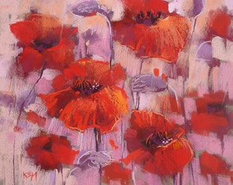 Original Pastel Painting Poppy Red Poppies  floral 10x12 by Karen Margulis psa