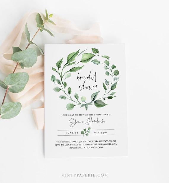 Greenery Bridal Shower Invitation Template, INSTANT DOWNLOAD, Printable Wreath Wedding Shower, 100% Editable Text, DIY Templett #059-158S