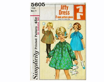 60s Simple to Sew Dress Jiffy Sewing Pattern Child Size 4 Easy Cut Easy Sew Vintage Sewing Pattern Simplicity 5605 2 Pattern Pieces