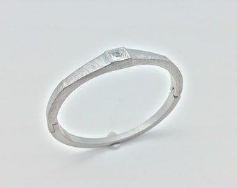 """Silver Crystal Cuff // Scratched Rhodium Finish // Tarnish Resistant // Size 7"""" Wrist // Ask About Wholesale"""