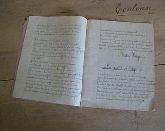 French school book, handwritten homework book with Don Quichotte cover