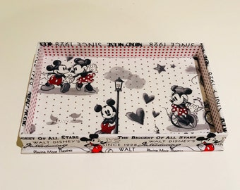 Catchall Tray Made With Mickey and Minnie Fabric (Rectangle)