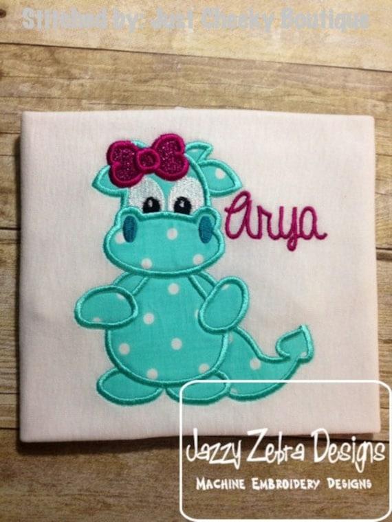 Girl Dragon Appliqué embroidery Design - girl Appliqué Design - dragon Applique Design - dinosaur Applique Design