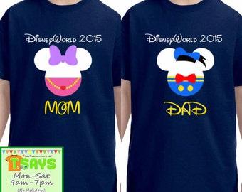 DisneyWorld DisneyLand Donald and Daisy family shirts, Disney family shirts, Disney family trip, Disney family vacation, Personalized shirts