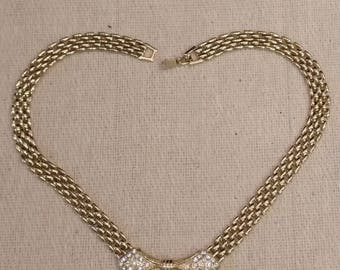 Vintage Yellow Metal and Rhinestone necklace