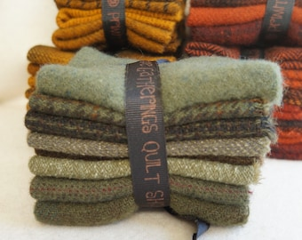 Sage Hand dyed felted wool in a range of Sage tones - textures perfect rug hooking and applique wool Primitive Gatherings Wool