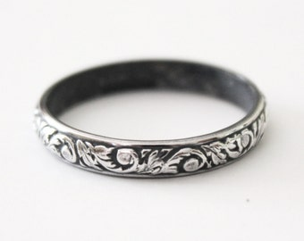 Ring - Victorian Floral Ring Band - Sterling Silver 925 - Flur de Lis - Women's Wedding Band - Promise Ring - Shabby Chic - Vintage - Patina