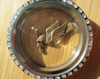 Brass bird charm for floating locket, peace dove