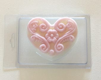 Pink Filagree Heart Soap, clamshell package. Delicate romantic scent. HANDMADE In Maine, Mother's Day,  Love Soap, Custom Orders / Colors