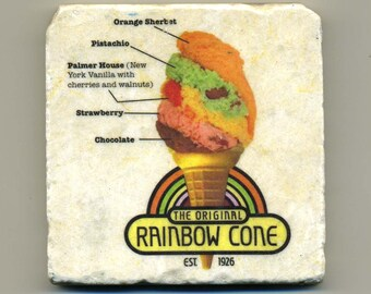 Rainbow Cone Ice Cream Parlor-Chicago - Original Coaster