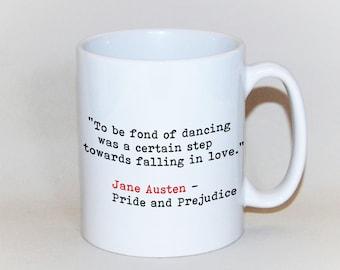 Jane Austen quote mug, Pride and Prejudice gift, literary quote mug, book mug, Elizabeth Bennett gift, Mr Darcy mug, Engagement gift
