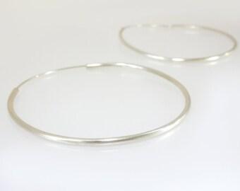 Karen Hill Tribe Silver Medium Hooped Earrings -Sterling Silver Earrings- Womens Silver Earrings- Silver Jewellery