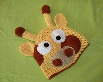 Kids crochet giraffe hat