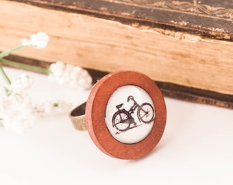 BICYCLE Ring, Bike Ring, Wood Ring, Boho BIKE Ring, Gift For Biker, Bike, Bicycle, Gift For Her, Vintage Bicycle, Jewellery, Glass Ring