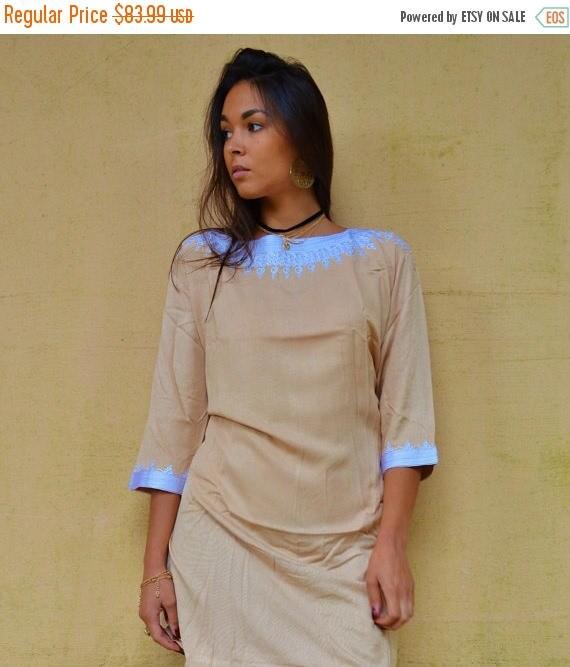 KAFTAN 20% SALE/ Autumn Winter Beige Resort Tunic Dress Reina Style-christmas gifts, Birthdays gifts, resort wear, party, Moroccan Dress, bo