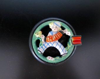 Collectible Hummel Ashtray, Boy with Accordion, 1930-40s, Collectible Ashtray