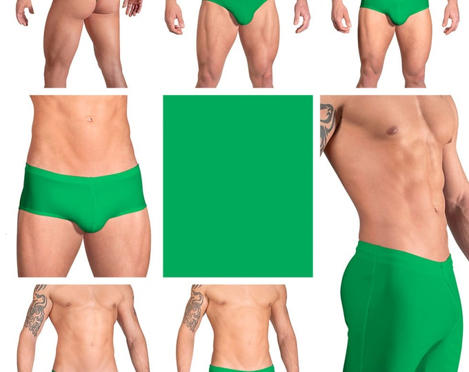 Solid Kelly Green Swimsuits for Men by Vuthy Sim.  Choose Thong, Bikini, Brief, Squarecut, Boxer, or Board Shorts - 09