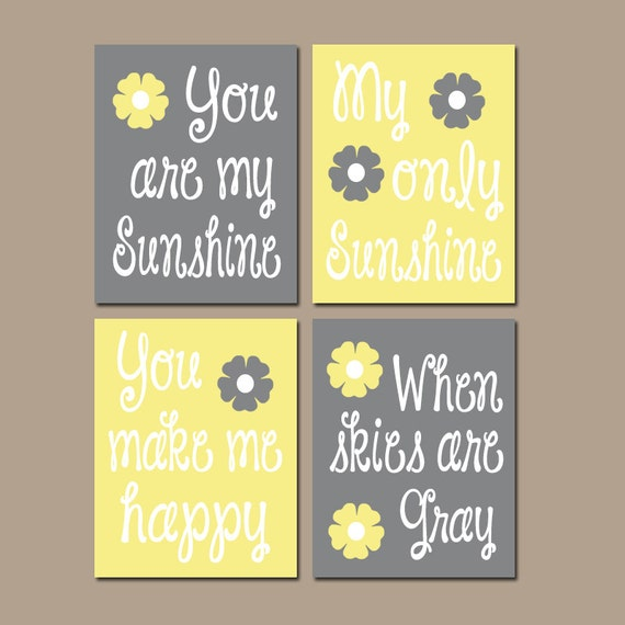 Elegant YELLOW Gray You Are My SUNSHINE Wall Art Canvas Or Prints