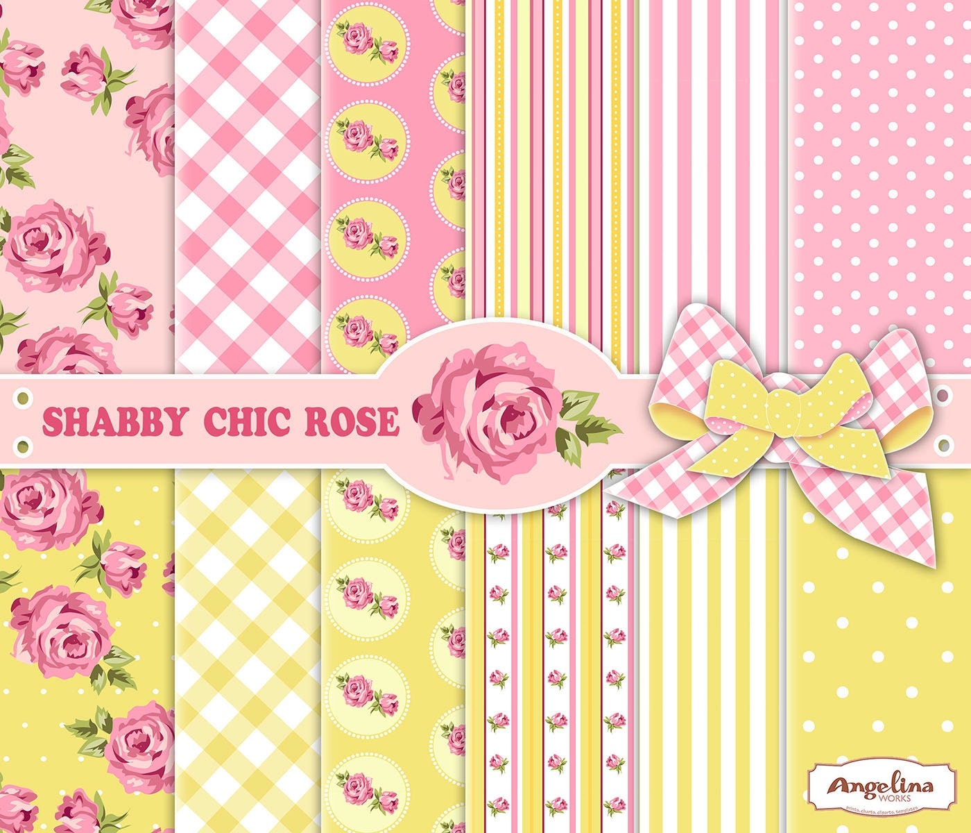 12 shabby chic pink and yellow digital papers 6 digital rh etsy com shabby chic yellow bathroom shabby chic yellow painted furniture