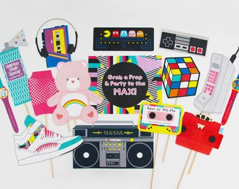 80s Photo Booth Props Printable, 80s Props, Eighties party decorations | INSTANT DOWNLOAD