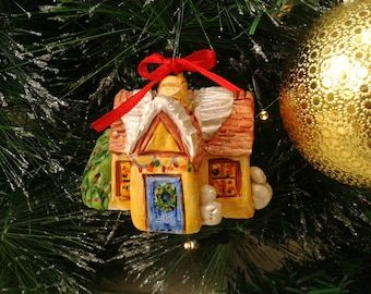 Miniature Cottage Winter Decoration, Polymer Clay Christmas Tree Ornament, Model House with Snowman, OOAK Christmas Gift Idea, Holiday Decor