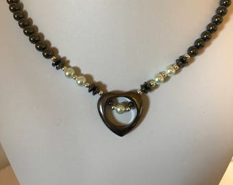 Handmade Hematite Open Heart Necklace with Aqua Accents