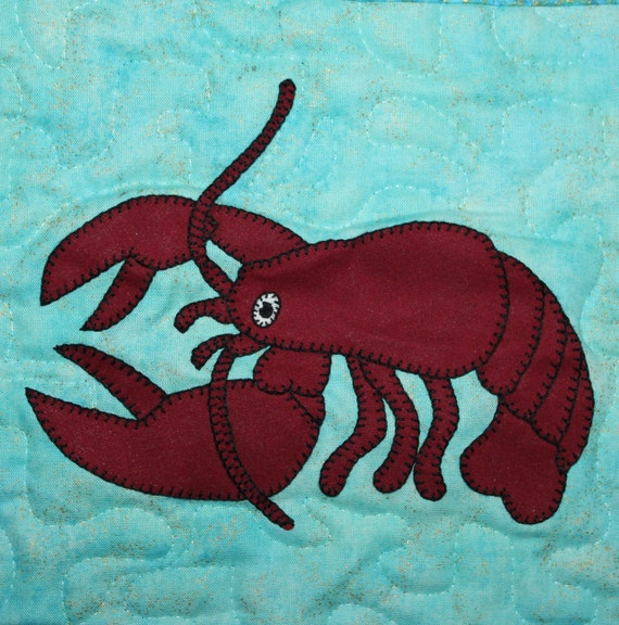 Lobster PDF applique pattern crustacean or ocean animal quilt