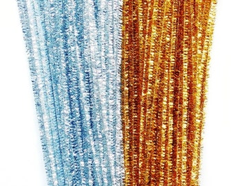 Gold and Silver Tinsel Pipe Cleaners 300mm 100pieces