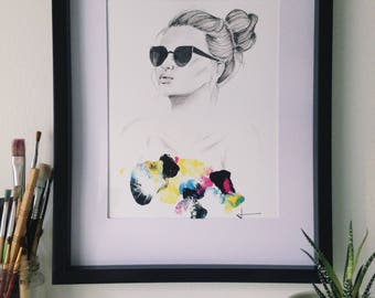 Semi Abstract PRINT, giclée, female portrait, sunglasses, made with acrylic paint and charcoal pencil, black, white, pink, blue, yellow