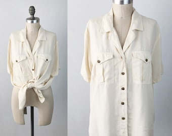 Vintage 90s Boxy Silk Blouse - Short Sleeve Ivory White Button Up Top by Anna & Frank - Oversized Minimalist Shirt - Size Large Medium
