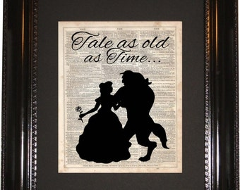 Tale as Old as Time,Beauty and the beast, Dictionary Art Print, Vintage Dictionary, Silhouette, Disney art, Wall Decor, Wall Hanging
