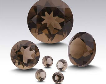 Smoky Quartz Round Faceted Stone, AA-Grade, select your size......