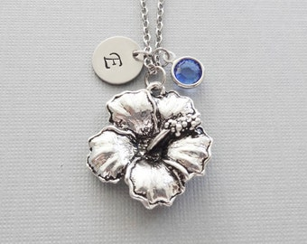Hibiscus Necklace, Flower Necklace, Floral Jewelry, Swarovski Birthstone, Silver Initial, Personalized, Monogram, Hand Stamped Letter