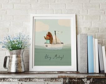 Squirrel boat - Boy Art - Holli - Nursery Wall Art - Nursery Decor - Childrens Art - Kids Wall Art - Nursery Art