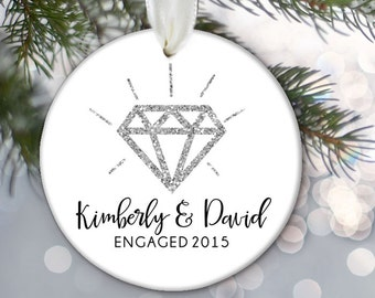 Personalized ENGAGEMENT Ornament, Faux Glitter Diamond, Engagement Gift, Ceramic Ornament Dated Ornament Personalized Engaged Ornament OR460