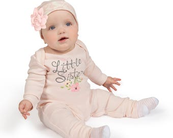 Little Sister Newborn Girl Coming Home Outfit, Newborn Girl Outfit, Baby Girl Take Home Romper, Baby Outfit Tesababe