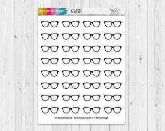 Eye Appointment Planner Stickers | Hipster Glasses | Nerd Glasses | Eye Glasses Planner Stickers  | 17337-04