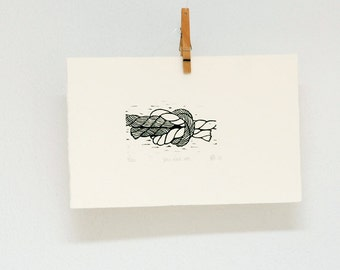 Small linocut of 2 ropes tied together in a knot, hand printed wall art, wedding gift, anniversary present