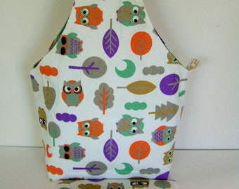 All Around Knitting Project Bag Wrist Style Large Size Owl Sturdy Linen