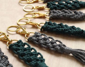 Colored Rope Macrame Keychain with Gold Swivel Snap Hook