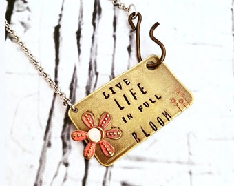 Bar Necklace, Gold Bar Necklace, Live Life in Full Bloom, Inspirational Necklace, Flower Necklace, Layering Necklace, Statement Necklace