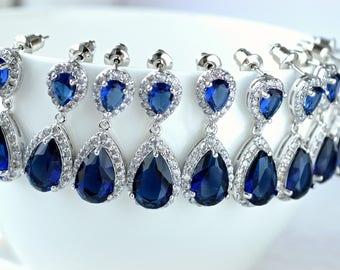 Bridesmaid earrings Set of 5 Wedding jewelry Cubic Zirconia Blue Crystal drop earrings Bridesmaid gift