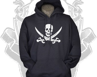 Skull hoodie Jolly Roger pirate flag hoodies skull and crossed swords black sweater sweatshirt for men boys women girls teens Small - 3XL