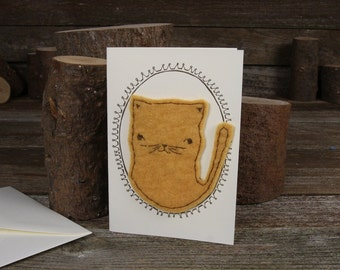 hand-stitched wool felt letterpress card: cat by kata golda