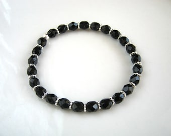 Silver and Black Stretch Bracelet Black Beaded Bracelet Stacking Bracelet