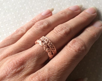 Handmade Vintage Lace Ring in Copper Electroformed Electroforming - Pattern 5