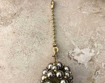 Light Fan Ball Chain Pull - Beaded Ball - Silver and Gold