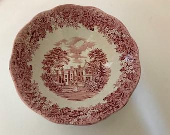 "Vintage Red Transferware J & G Meakin ""Romantic England"" Cereal Salad Bowl- 6.5"""